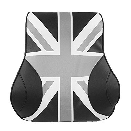 UnionJack Memory Foam Leather Back Cushion Waist Cushion / Backrest / Waist Cushion / Driver / Car Supplies / Lumbar Supports / Pillow (Gray) ()