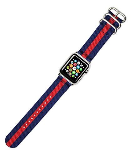 debeer-replacement-watch-band-2-piece-nylon-navy-with-red-stripe-fits-42mm-series-1-2-black-adapters