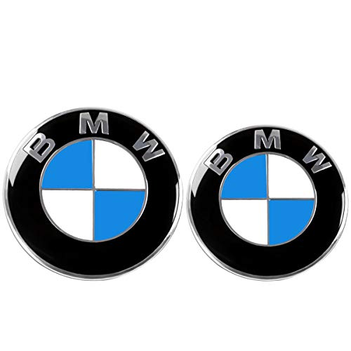 ORFORD Emblem for BMW, Replacement for Front 82mm and Rear 74mm BMW Emblem Badge for BMW 3-Series, 5-Series, 6-Series, 7-Series, X1, X3, X5 Blue & White
