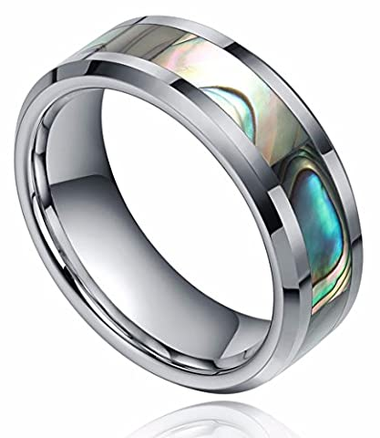 6mm/8mm Tungsten Carbide Ring with Abalone Shell Inlay Comfort Fit Wedding Engagement Band for Womens (Abalone Inlay Band Ring)