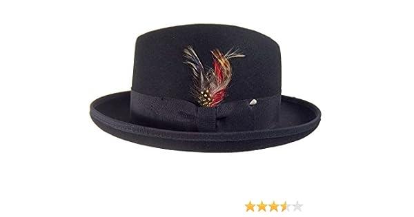 69c47eccf19ed Homburg Wool Felt Men's Black Hat Godfather Hat Gangster 22871