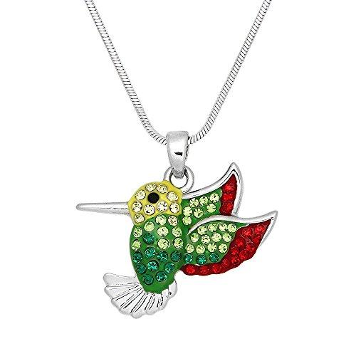 Falari Hummingbird and Other Birds Pendant Necklace Rhinestone Crystal Rhodium High Polished - Pendant Hummingbird Polished
