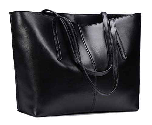 Crinkle Leather Tote - Anynow Luxurious Women's Genuine Leather Handbag Fashion Cowhide Shoulder Bag Ladies Tote Bag (Black)
