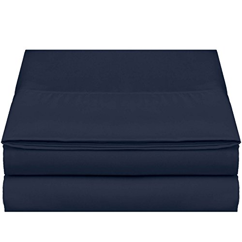 "Empyrean Bedding Premium Flat Sheet – ""110 GSM"" Double Brushed Microfiber Extra Thick and Comfortable Flat Sheets, Luxurious & Soft Hotel Single Top Bed Sheet Hypoallergenic, King, Navy (King Single)"