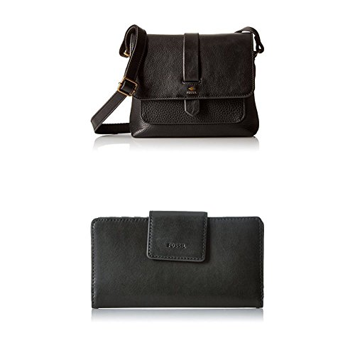 Fossil Kinley Small Crossbody with Emma Tab Wallet Rfid, Black by Fossil