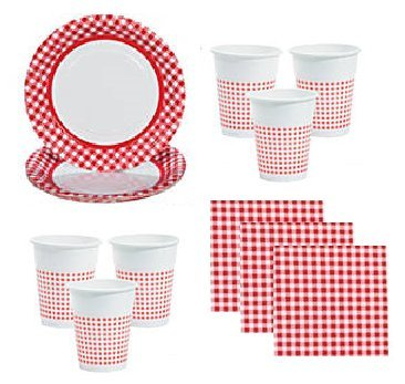 Red Gingham Party Supplies Picnics Camping for 48 Guests Including Large Plates, Napkins & Cups ()