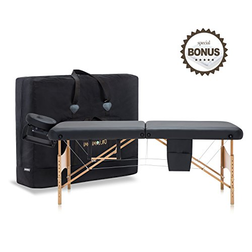 DR.LOMILOMI 30″ Portable Massage Table 004 Spa Bed with Towel hanger & Oil pouch (Black)