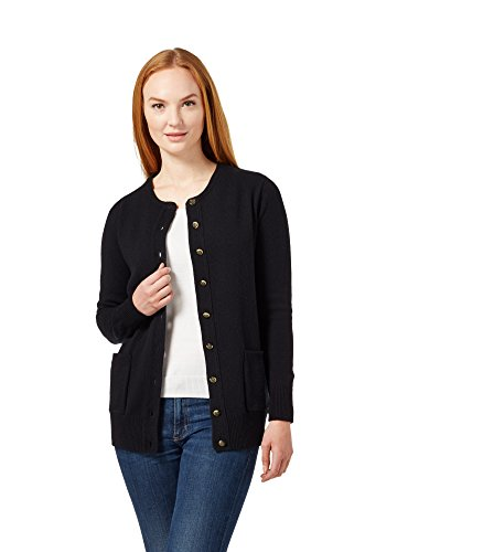 (WoolOvers Womens Lambswool Crew Neck Cardigan Black, L)