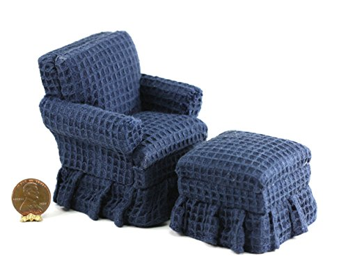Dollhouse Miniature Traditional Blue Club Chair with Ottoman by Town Square Miniatures from Dollhouse Miniature