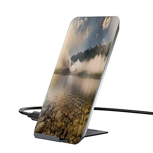 (10W wireless charger and QI wireless receiver,Farm House Decor,Alpine Lake with Stones Rocks in Crystal Water with Mist Fog Clouds Imagedock compatible with iPhone6 / 6PLUS / 6S / 6SPLUS / 7 / 7PLUS)