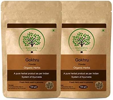 RADANYA Ayurveda Gokhru Powder 100 Gram - Indian Pure Natural Essential Organic Herbal Supplement Powder - Pack of 2