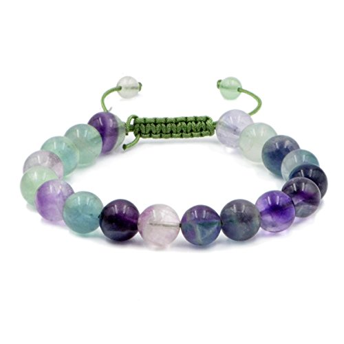 AD Beads Natural 10mm Gemstone Bracelets Healing Power Crystal Macrame Adjustable 7-9 Inch (Fluorite Gemstone Bracelet)