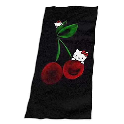 Lbbb Fashion Hello Kitty with Cherry Basics Fade-Resistant Beach &Hotel & Home Bath Towel -1 Pack - Ultra Soft Bath Towels - Ideal for Daily Use -Tow Size - Hello Bath Kitty Towels