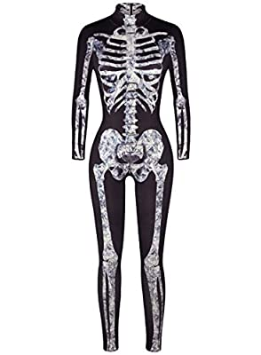 Uideazone Womens Halloween Cosplay Costume 3D Print Skull Skeleton Bodysuits Stretch Skinny Catsuit Overall Jumpsuit
