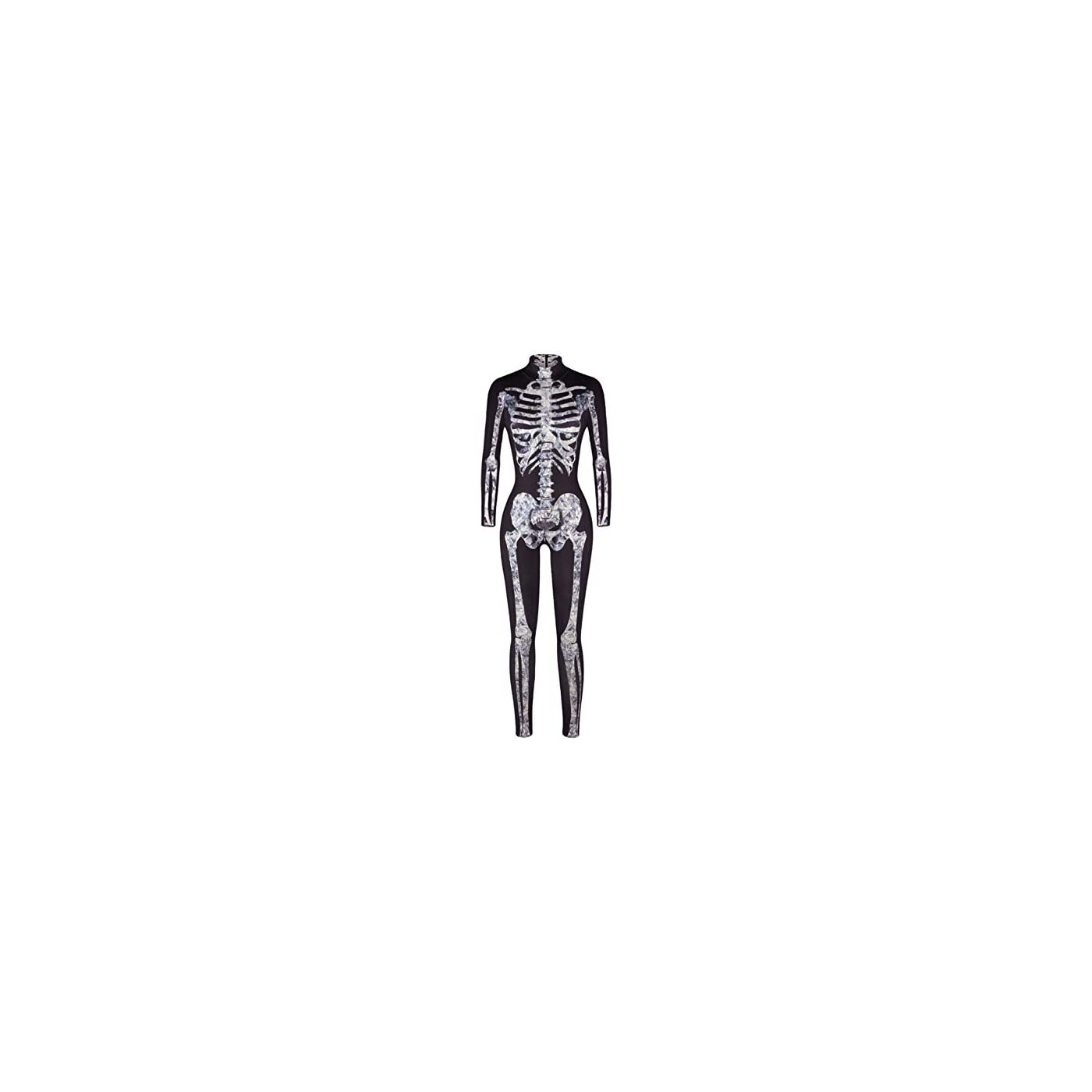 Uideazone Womens Halloween Cosplay Costume 3D Print Skull Skeleton Bodysuits Stretch Skinny Catsuit Overall Jumpsuit 41lYxoByEBL