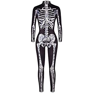 uideazone Halloween Costume for Women Skeleton Cosplay Bodysuit Long Sleeve Skinny Catsuit Jumpsuit