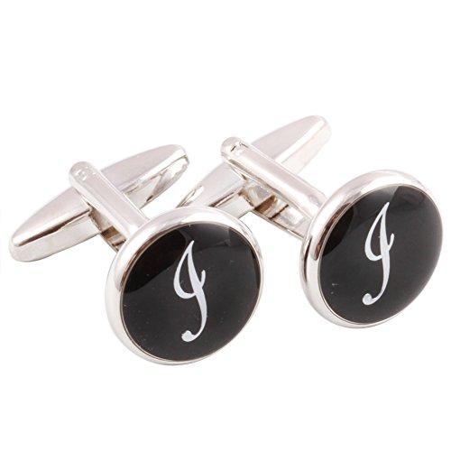 Rhodium Letter - HJ Men's 2PCS Rhodium Plated Cufflinks Silver Initial Letter Shirt Wedding Business 1 Pair Set Black I