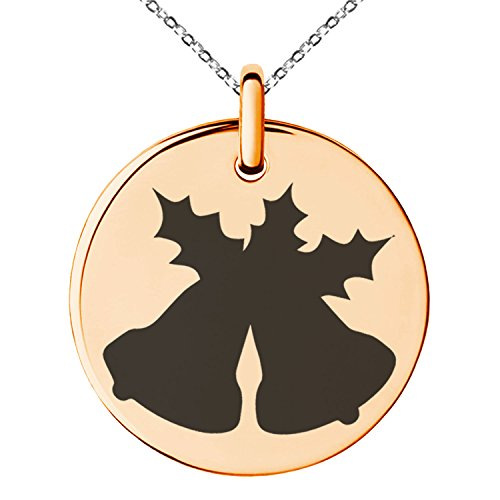 - Rose Gold Plated Stainless Steel Christmas Bells and Holly Silhouette Engraved Small Medallion Circle Charm Pendant Necklace
