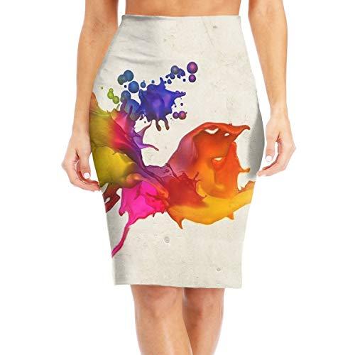 Dsason77 Inkjet Printing Women's High Waist Stretch Pencil Skirt, Knee Length Pencil Skirts White ()