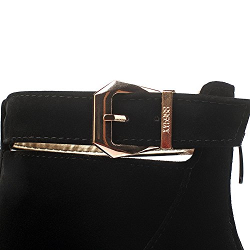 Closed Round Black Boots Suede Heels Toe Kitten Women's Allhqfashion Solid Imitated Zipper xPq48v0wZ