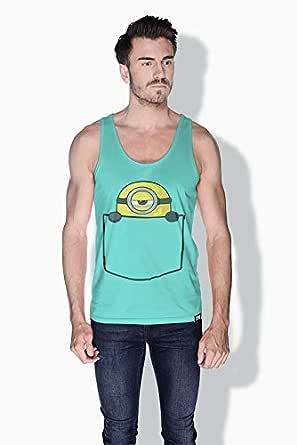 Creo Pocket Minions Tank Top For Men - Green, M