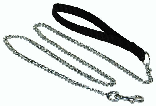 Hamilton 4' Fine Chain Dog Lead with Black Nylon Handle ()