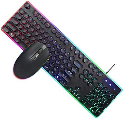 ゲーミングキーボードとマウスのセットバックライト、RGB等PC、コンピュータ、ラップトップ、マウス1600DPI調整可能な、有線英語キーボードセット(ブラック)を照射しました
