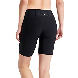 "Baleaf Women's 7"" Active Fitness Yoga Running Shorts Pocket Black Size L"