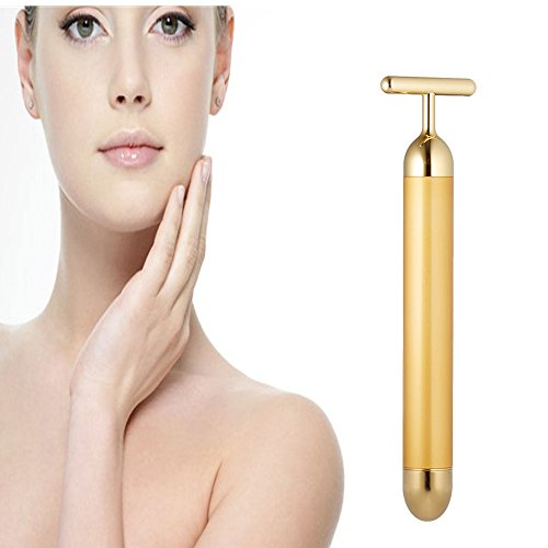 Facial Massager,Cheaboom Beauty Bar 24k Golden Pulse T-Shape Face Massage Tools for Sensitive Skin Face Pull Tight Firming Lift (Golden)