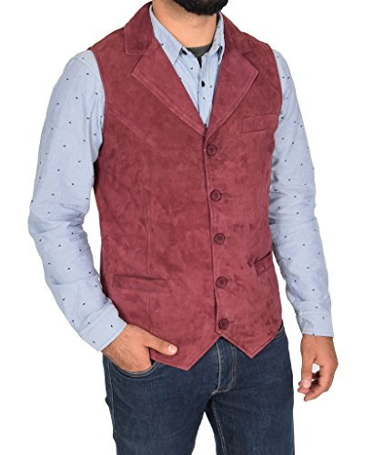 Mens Real Suede Traditional Style Classic Waistcoat Gilet Vest Devin Red (Classic Suede Vest)