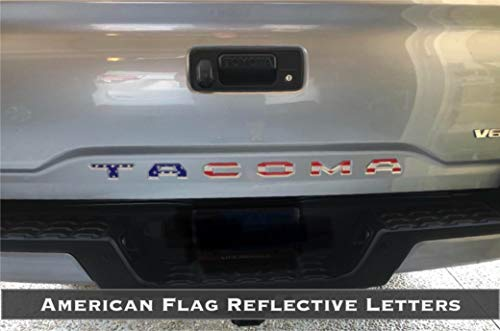 BDTrims | Tailgate Letters for Toyota Tacoma 2016-2019 Plastic Inserts (American Flag Reflective)