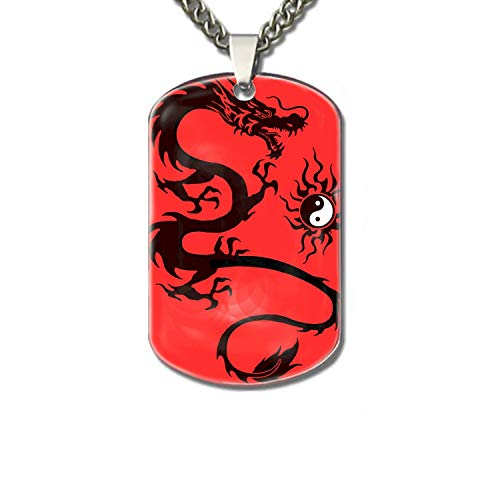 XIOZURV Dog Tag Chains-Cool Tattoo Dragon in Yinyang Family pet Identification -