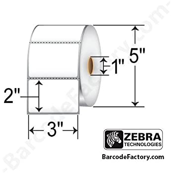 """Zebra Technologies 10010029 Z-Perform 2000D Paper Label, Direct Thermal, Perforated, 3"""" x 2"""", 1"""" Core, 5"""" OD, 1240 Labels per Roll (Pack of 6)"""
