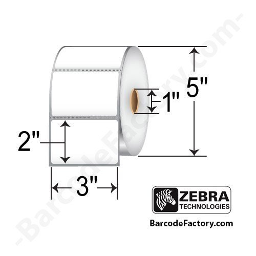 Zebra - 3 x 2 in Direct Thermal Paper Labels, Z-Perform 2000D Permanent Adhesive Shipping Labels, Zebra Desktop Printer Compatible, 1 in Core - 6 ()