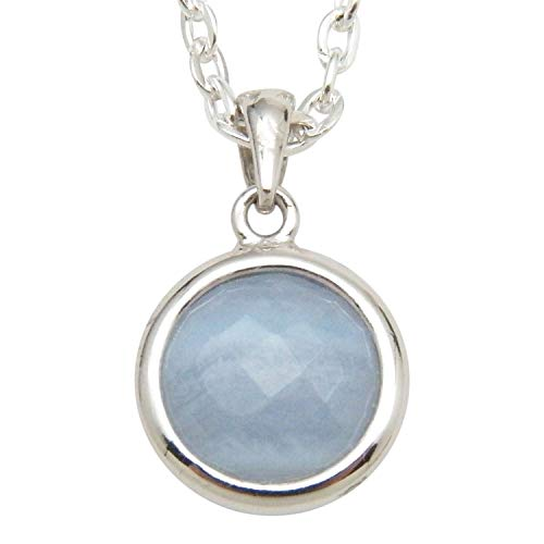 Fundamental Rockhound: Natural Blue Lace Agate Faceted Pendant Necklace with 18