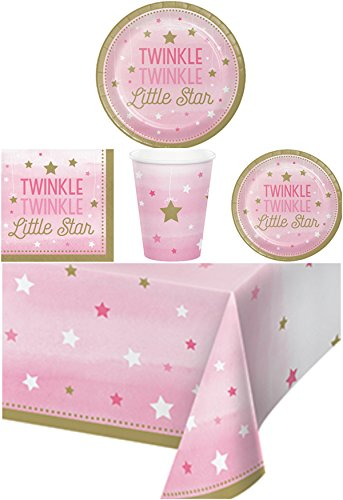 1st Birthday Girl Dessert Plate (Twinkle Twinkle Little Star Girl Birthday Party Supplies Pack Bundle Kit Including Dinner Plates, Dessert Plates, Cups, Napkins and Tablecover - 8 Guests Girl's First Birthday)