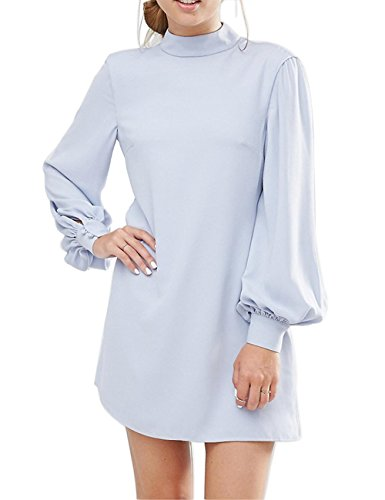 Ellies Women's Long Sleeve High Neck Keyhole A Line Work Casual Mini Dresses, Light Blue, Size US (Spring Fashion Dresses)