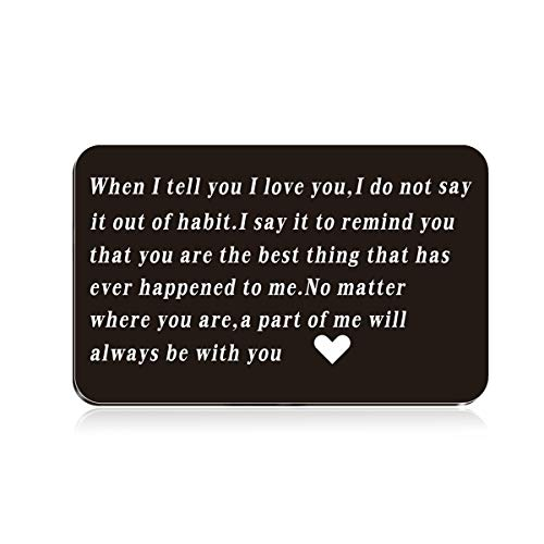 Stainless steel Engraved Wallet Mini Love Note Insert Card - Birthday Gifts for Men Wallet Card, Him - Wedding Anniversary Gifts for Husband, Boyfriend - Unique Engagement Present for Groom