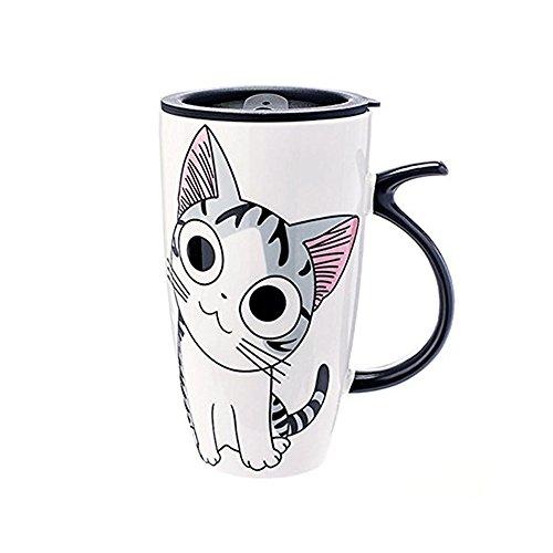 Cute Cat Style Ceramic Mugs with Lid & Spoon Cartoon Creative Moring Mug Milk Coffee Tea Unique Porcelain Cups 600ml (Meditation)