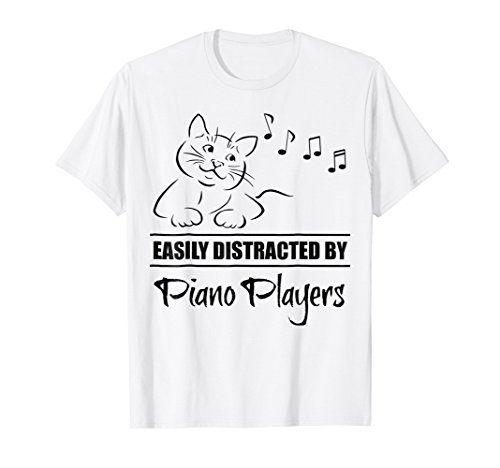 Curious Cat Easily Distracted by Piano Players T-Shirt