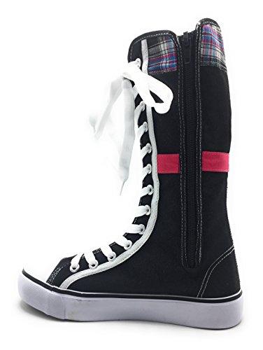 Nuova Moda Donna Tela Lace Up Metà Polpaccio Al Ginocchio Multi Colore Sneakers Scarpe Avvio Nero / H.pink-0451