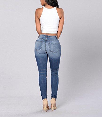 Attillati A Skinny Patchwork Caviglia Keephen Moda Pantaloni Sexy Casual Donna Alla Blu 1xx7wqTS