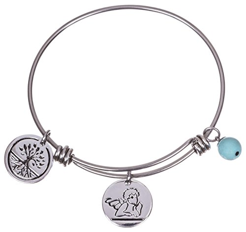 Silver Plated Stainless Steel Expandable Charm Bracelet Bangle - Guardian Angel (Guardian Angels Bracelet)