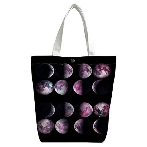 Violetpos Benutzerdefiniert Canvas Handtasche Einkaufstaschen Umhängetasche Schultasche Lunch-Tasche Interstellar Galaxie Erdrotation