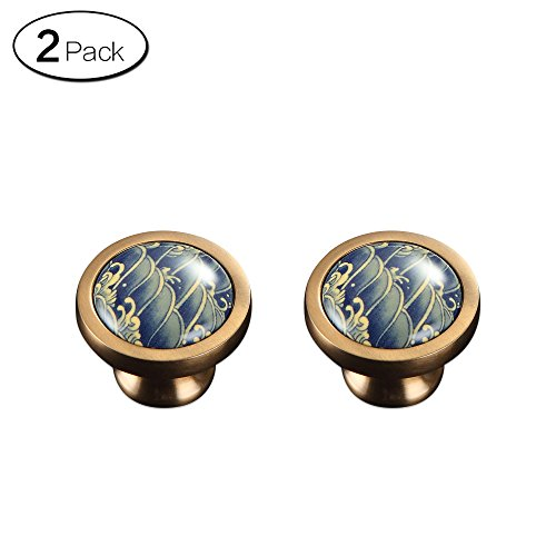 Zhi Jin 2Pcs Ceramic Sea Waves Cabinets Knob Wardrobe Drawer Handles Furniture Series Single Hole
