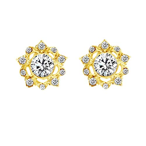 Bellina Vintage Filigree Gold Plated Stud Earring Elegant Crystal Classic Diamante with Hypoallergenic Stainless Steel Stem in Velvet Gift Box (Filigree Stud G)