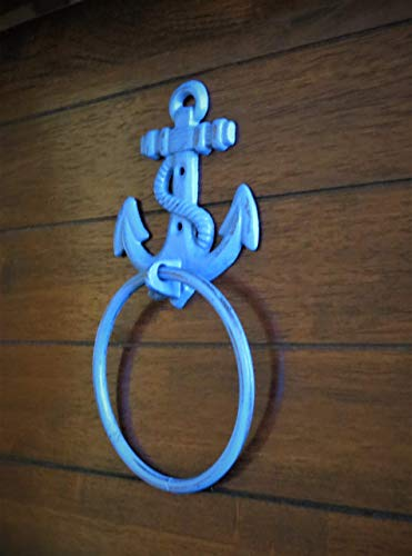 Towel Ring Wildflower Blue or Pick Color Cast Iron Anchor Towel Hanger Nautical Decor Cottage Beach Design Bathroom or Kitchen Accessory
