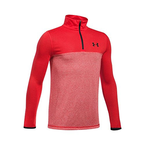 Under Armour Boys' Threadborne ¼ Zip, Red/Red, Youth X-Large