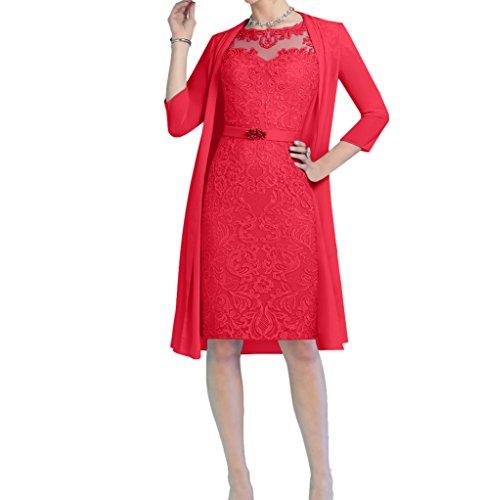 mit Knielang Etuikleider Elegant Abendkleider Charmant Rot Promkleider Brautmutterkleider Hell Blau Bolero Damen Bfwcqz8S