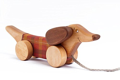 Pull-Along Hand-Crafted Birch Wood Non-Toxic Weiner Dog Toy, (Snoopy Pull Toy)